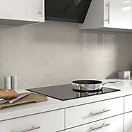 Glina Grey Gloss Ceramic Wall Tile, Pack of 40, (L)150mm (W)150mm