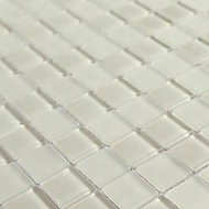 Glina Ivory Frosted Glass Mosaic tile sheet, (L)300mm (W)300mm