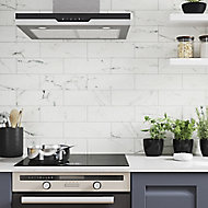 Glina White Gloss Patterned Ceramic Wall Tile, Pack of 34, (L)297mm (W)97mm
