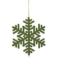 Glitter Green Snowflake Decoration