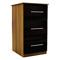 Gloss black 3 Drawer Chest of drawers (H)775mm (W)400mm (D)500mm