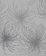 Gold Cosmo Grey Floral Glitter effect Textured Wallpaper
