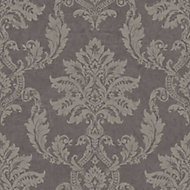 Gold Etch Charcoal Damask Gold effect Embossed Wallpaper