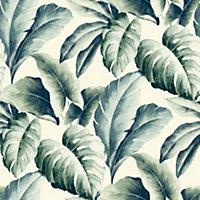 Gold Green Palm leaf Embossed Wallpaper