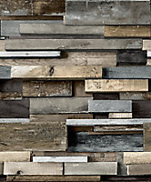 Gold Horizontal wood Brown Faux wall Wood effect Embossed Wallpaper