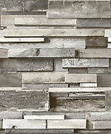 Gold Horizontal wood Grey Faux wall Wood effect Embossed Wallpaper