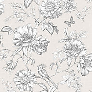 Gold Menagerie Cream & white Floral Embossed Wallpaper