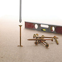 Goldscrew Yellow zinc-plated Carbon steel Wood Screw (Dia)5mm (L)100mm, Pack of 100