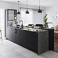 GoodHome 12mm Nepeta Matt Grey Paper & resin Square edge Kitchen Worktop, (L)3000mm