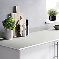 GoodHome 12mm Nepeta Matt White Stone effect Paper & resin Square edge Kitchen Breakfast bar, (L)2000mm