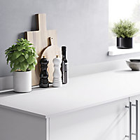 GoodHome 12mm Nepeta Matt White Stone effect Paper & resin Square edge Kitchen Worktop, (L)3000mm