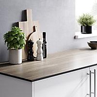 GoodHome 12mm Nepeta Matt Wood effect Paper & resin Square edge Kitchen Breakfast bar, (L)2000mm