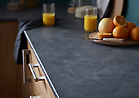 GoodHome 22mm Algiata Matt Grey Slate effect Laminate & particle board Post-formed Kitchen Worktop, (L)3000mm