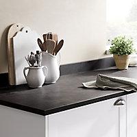 GoodHome 22mm Algiata Matt Grey Slate effect Laminate & particle board Post-formed Kitchen Worktop, (L)3000mm