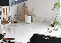 GoodHome 22mm Algiata Matt White Marble effect Laminate & particle board Post-formed Kitchen Worktop, (L)3000mm