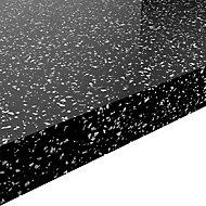 GoodHome 38mm Berberis Gloss Black Star effect Laminate & particle board Square edge Kitchen Breakfast bar, (L)2000mm