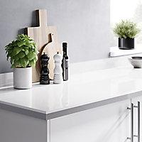 GoodHome 38mm Berberis Gloss White Laminate & particle board Square edge Kitchen Worktop, (L)3000mm