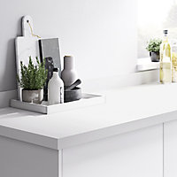 GoodHome 38mm Berberis Super matt White Laminate & particle board Square edge Kitchen Worktop, (L)3000mm
