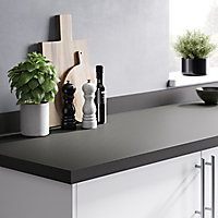GoodHome 38mm Berberis Super matt Zinc Anthracite Laminate & particle board Square edge Kitchen Breakfast bar Breakfast bar, (L)2000mm
