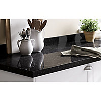 GoodHome 38mm Kabsa Gloss Black Granite effect Laminate & particle board Post-formed Kitchen Worktop, (L)3000mm