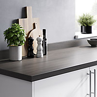 GoodHome 38mm Kabsa Matt Grey Oak effect Laminate & particle board Post-formed Kitchen Worktop, (L)3000mm