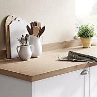 GoodHome 38mm Kala Matt Brown Oak effect Laminate & particle board Square edge Kitchen Worktop, (L)3000mm