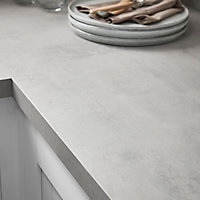 GoodHome 38mm Kala Matt Grey Concrete effect Laminate & particle board Square edge Kitchen Worktop, (L)3000mm