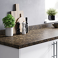 GoodHome 38mm Umbria Gloss Brown Stone effect Chipboard & laminate Post-formed Kitchen Worktop, (L)3000mm