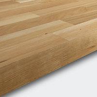 GoodHome 40mm Hinita Matt Natural Solid oak Square edge Kitchen Breakfast bar Breakfast bar, (L)2000mm