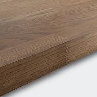GoodHome 40mm Hinita Stained Dark wood effect Solid oak Square edge Kitchen Breakfast bar, (L)2000mm
