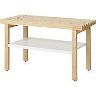 GoodHome Adriska White & Natural Bench, (H)450mm (W)800mm (D)360mm