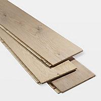 GoodHome Agung Vintage grey Oak Real wood top layer flooring, 2.05m² Set