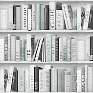 GoodHome Ajacis Green Bookcase Glitter effect Smooth Wallpaper