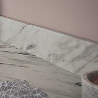 GoodHome Algiata Matt White Marble effect Laminate & particle board Upstand (L)3000mm