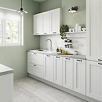 GoodHome Alpinia Matt white tongue & groove shaker Highline Cabinet door (W)500mm (T)18mm