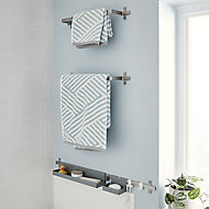GoodHome Amantea Wall-mounted Brushed Towel rail (W)500mm