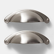 GoodHome Ancho Brushed Silver Nickel effect Stainless steel & zinc alloy Cabinet Handle (L)103mm, Pack of 2