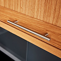 GoodHome Annatto Brushed Nickel effect Steel Bar Cabinet Handle (L)220mm, Pack of 2