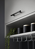 GoodHome Annatto Matt Black Steel Bar Cabinet Handle (L)188mm, Pack of 2