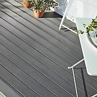 GoodHome Areto Dark grey Composite Deck board (L)2.05m (W)120mm (T)21mm, Pack of 6