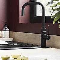 GoodHome Argania Black Graphite effect Kitchen Side lever Tap