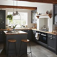GoodHome Artemisia Matt graphite classic shaker Drawer front, bridging door & bi fold door, (W)400mm