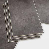 GoodHome Bachata Grey Tile effect Luxury vinyl click flooring, 2.6m² Pack