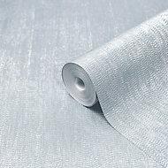 GoodHome Bacopa Teal Metallic effect Textured Wallpaper