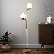 GoodHome Baldaz Brushed Brass effect Floor light
