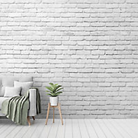 GoodHome Balonga White Brick Matt Mural