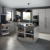 GoodHome Balsamita Matt grey slab Highline Cabinet door (W)500mm