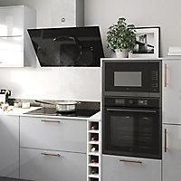 GoodHome Bamia GHAGRO90 Black Glass Round angled Cooker hood, (W)90cm