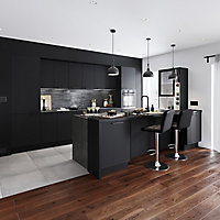 GoodHome Bamia GHIH80 Black Glass Inset Cooker hood, (W)80cm