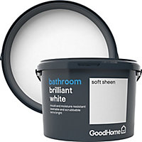 GoodHome Bathroom Brilliant white Soft sheen Emulsion paint, 2.5L